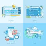 Set of line concept icons for website and app development Royalty Free Stock Photography