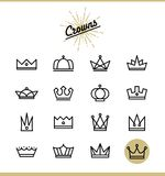 Set of line crown icons Stock Photos