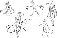 Set of line doodle sketches of a woman shopping. Set of five different line doodle sketches of a woman shopping walking along carrying shopping bags with her Royalty Free Stock Photo