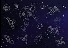 Set of line doodle space objects Royalty Free Stock Photo
