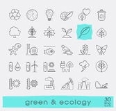 Set of line ecology icons. Royalty Free Stock Image