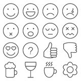 Set of line emoticons Stock Photo