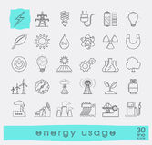 Set of line energy icons. Various energy sources. Royalty Free Stock Photo