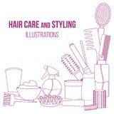 Tools and hair care products. Set of line equipments for styling and hair care. Products and tools for home remedies of hair care. Vector Stock Photos