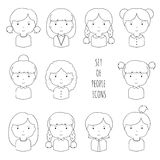 Set of line female faces icons. Funny cartoon hand Stock Photo