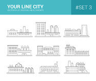 Set of line flat design buildings icons. Factories Royalty Free Stock Image