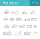 Set of line flat design buildings icons. Set of vector line flat design buildings icons Royalty Free Stock Image
