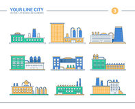 Set of line flat design industrial buildings icons Royalty Free Stock Images