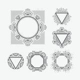 Set of line frames Stock Photo