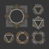 Set of line frames. With floral and geometrical elements. Outline, empty,  graphical backgrounds Royalty Free Stock Photography