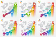 Set of line graph infographic templates for charts and diagrams. Business, education, industry, science concept with 3-8 values, options, parts, steps Stock Photos