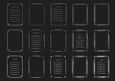 Set of line and hand drawn frames and lists on the chalkboard Stock Photography