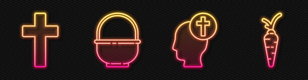 Set line Human head with christian cross, Christian cross, Basket and Carrot. Glowing neon icon. Vector