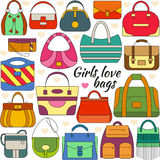 Set of line icon. Different women bags Royalty Free Stock Photo