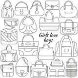 Set of line icon. Different women bags and place for your text. Contour icons. Info graphic elements. Simple design. Vector illust. Ration, eps 10 Royalty Free Stock Photography