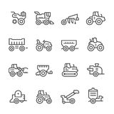 Set line icons of agricultural machinery. On white. Vector illustration Stock Photo