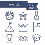 Set of line icons for award success and victory Royalty Free Stock Images