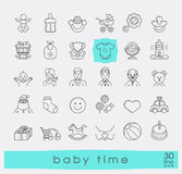 Set of line icons for baby care, feeding and play. First year of Royalty Free Stock Images
