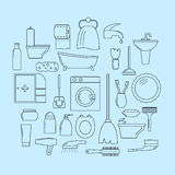 Set of line icons. Bathroom theme Royalty Free Stock Images