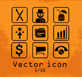 Set of 9 line icons Royalty Free Stock Photography