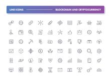 Set of 60 line icons. Blockchain and cryptocurrency. Collection. Vector illustration with elements for crypto technology for fiat money, bitcoin, altcoin, ico Royalty Free Illustration