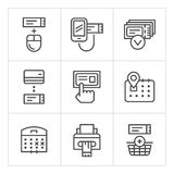 Set line icons of booking tickets Royalty Free Stock Photography
