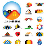 Set of line icons of buildings vector logos Royalty Free Stock Images