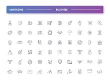 Set of 60 line icons. Business. Collection. Vector illustration for realisation ideas, start up, making money and teamwork Royalty Free Stock Photos
