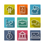 Set of line icons of business people organization, human resource management, company development, career progress Stock Images