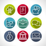 Set of line icons of business people organization, human resource management, company development, career progress Royalty Free Stock Photo