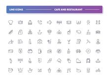 Set of 60 line icons. Cafe and restaurant. Collection. Vector illustration with food and drink, includes elements for bar and pub vector illustration