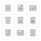 Set line icons of calculator. Isolated on white Royalty Free Stock Photo