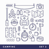 Set line icons camping tourism. Stock Image