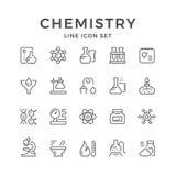 Set line icons of chemistry. On white. Vector illustration Stock Photo