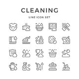 Set line icons of cleaning Royalty Free Stock Photography