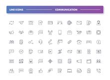 Set of 60 line icons. Communication. Collection. Vector illustration or  communion with people, social networks, contact us Stock Photography