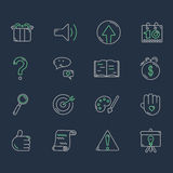 Set of line icons on dark background. Stock Photos