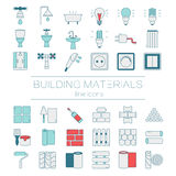 Set of line icons for DIY, construction, building materials. Royalty Free Stock Photos