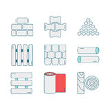 Set of line icons for DIY, construction, building materials. Pictograms for DIY shop, construction and building materials. Vector illustration Stock Image