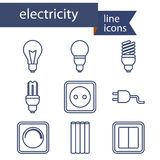 Set of line icons for DIY, electricity tools. Vector illustration Stock Photography