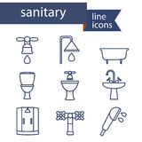 Set of line icons for DIY, sanitary engineering Royalty Free Stock Photo