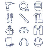 Set of line icons for DIY, tools and work clothes Royalty Free Stock Photo