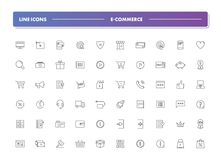 Set of 60 line icons. E-commerce. Collection. Vector illustration for internet and online work Stock Illustration