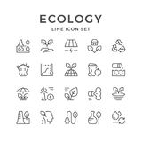 Set line icons of ecology. Isolated on white. Vector illustration Royalty Free Stock Images