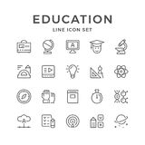 Set line icons of education. Isolated on white. Vector illustration Royalty Free Stock Photos