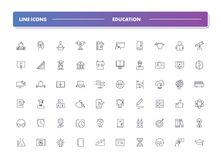 Set of 60 line icons. Education. Collection. Vector illustration or studying, learning, teaching, wisdom and knowledge Royalty Free Stock Photography