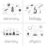 Set of line icons. Educational and science concept. Isolated on white background. School subjects. Set of line icons. Educational and science concept. Isolated vector illustration