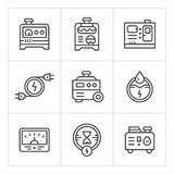 Set line icons of electrical generator Stock Image