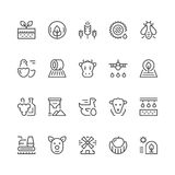 Set line icons of farming and agriculture Royalty Free Stock Photo