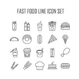 Set of line icons with fast food Stock Photos